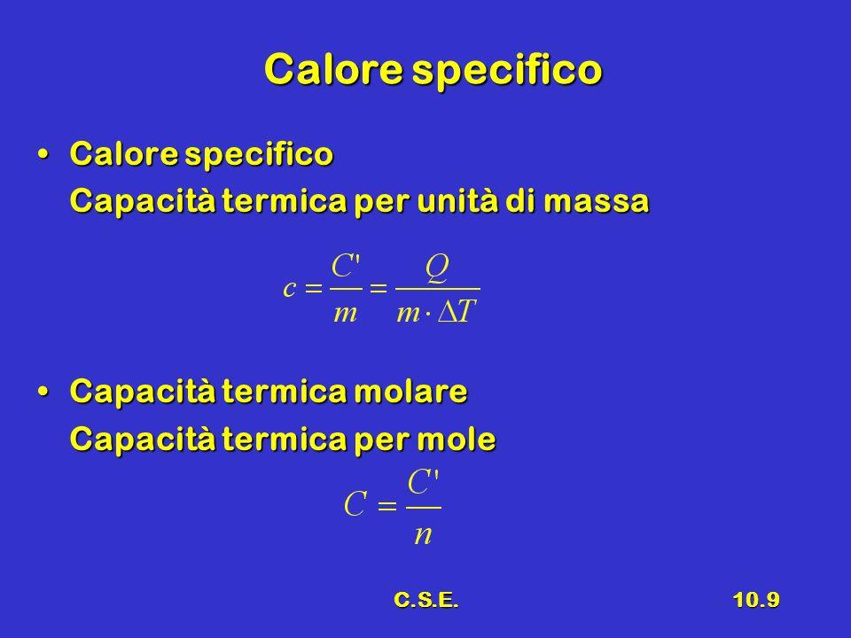 C.S.E.10.9 Calore specifico Calore specificoCalore specifico Capacità termica per unità di massa Capacità termica molareCapacità termica molare Capaci