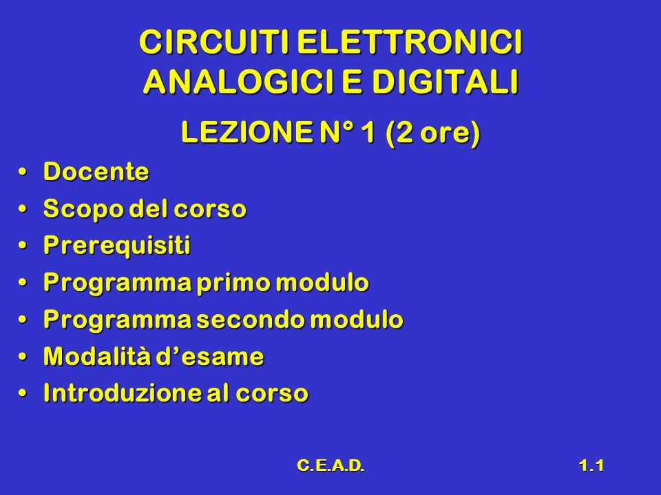 C.E.A.D.1.1 CIRCUITI ELETTRONICI ANALOGICI E DIGITALI LEZIONE N° 1 (2 ore) DocenteDocente Scopo del corsoScopo del corso PrerequisitiPrerequisiti Prog
