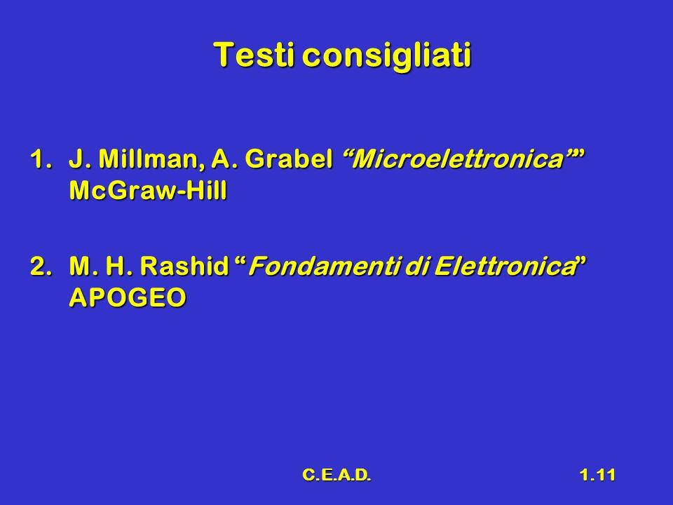 C.E.A.D.1.11 Testi consigliati 1.J. Millman, A. Grabel Microelettronica McGraw-Hill 2.M. H. Rashid Fondamenti di Elettronica APOGEO