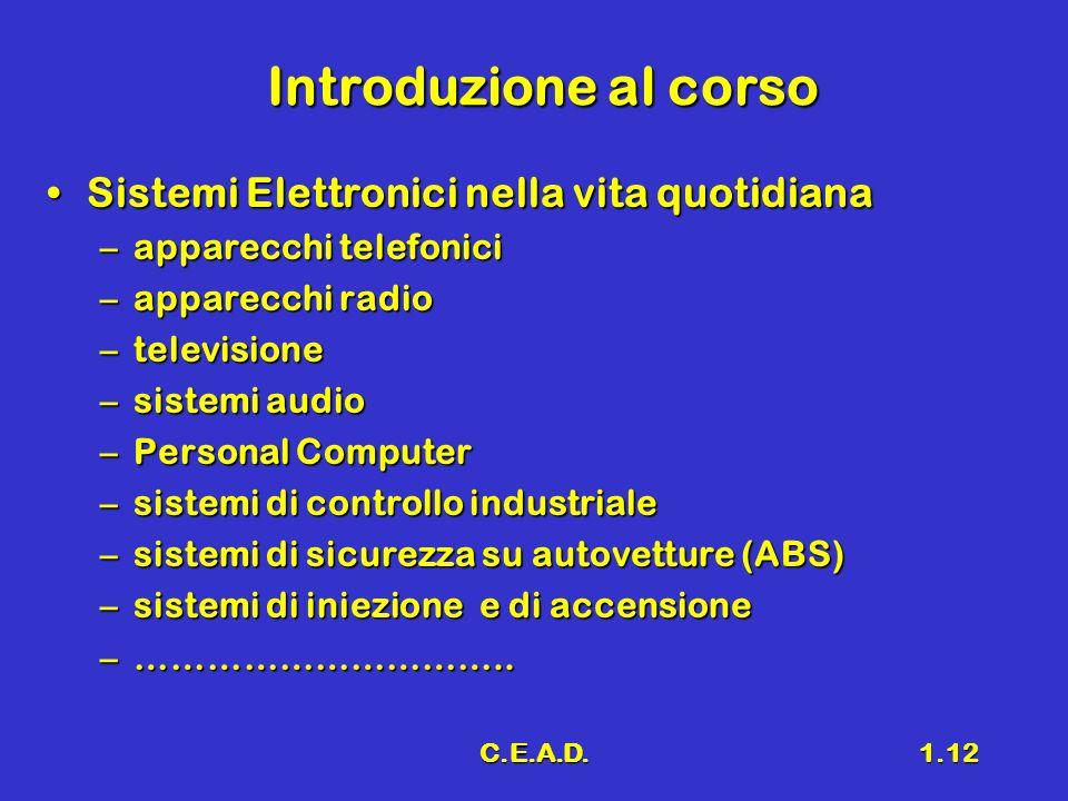 C.E.A.D.1.12 Introduzione al corso Sistemi Elettronici nella vita quotidianaSistemi Elettronici nella vita quotidiana –apparecchi telefonici –apparecc