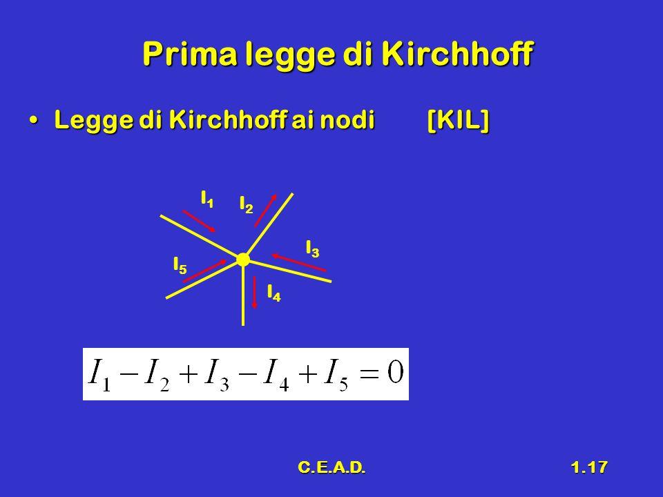 C.E.A.D.1.17 Prima legge di Kirchhoff Legge di Kirchhoff ai nodi[KIL]Legge di Kirchhoff ai nodi[KIL] I1I1 I2I2 I3I3 I4I4 I5I5