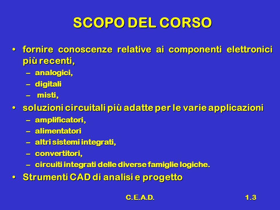 C.E.A.D.1.3 SCOPO DEL CORSO fornire conoscenze relative ai componenti elettronici più recenti,fornire conoscenze relative ai componenti elettronici pi