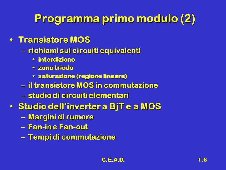 C.E.A.D.1.6 Programma primo modulo (2) Transistore MOSTransistore MOS –richiami sui circuiti equivalenti interdizioneinterdizione zona triodozona trio