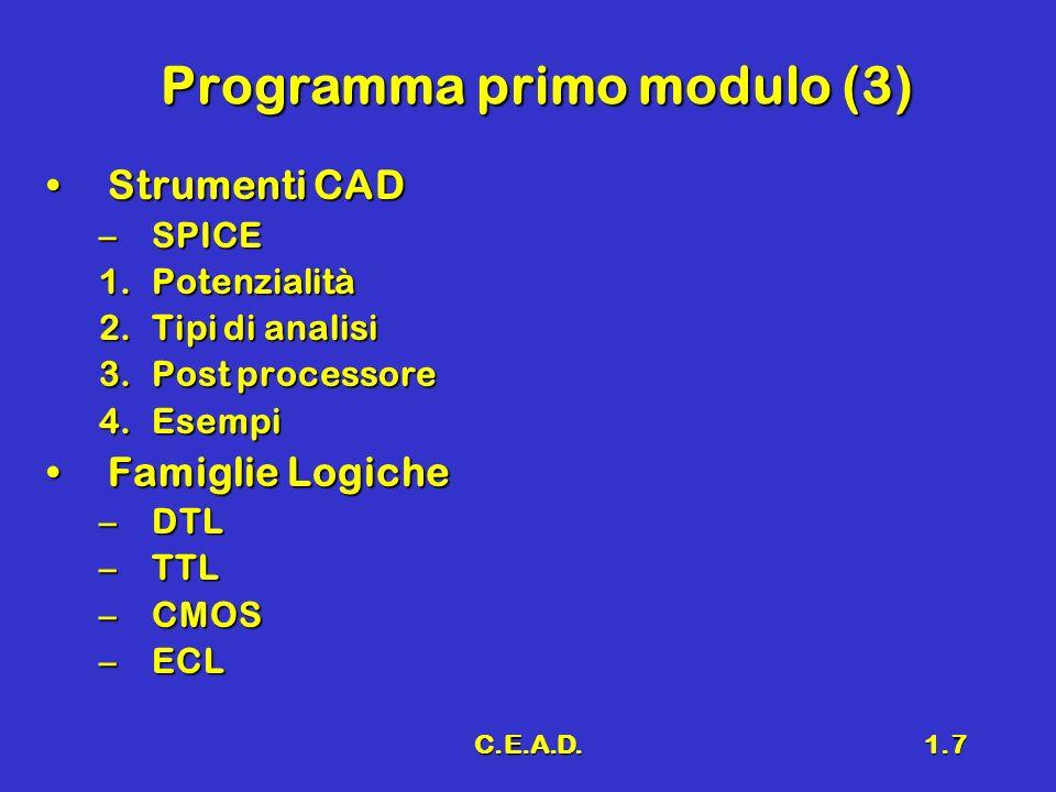 C.E.A.D.1.7 Programma primo modulo (3) Strumenti CADStrumenti CAD –SPICE 1.Potenzialità 2.Tipi di analisi 3.Post processore 4.Esempi Famiglie LogicheF