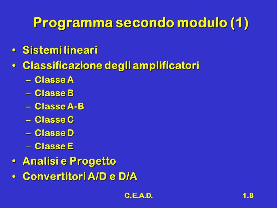 C.E.A.D.1.8 Programma secondo modulo (1) Sistemi lineariSistemi lineari Classificazione degli amplificatoriClassificazione degli amplificatori –Classe