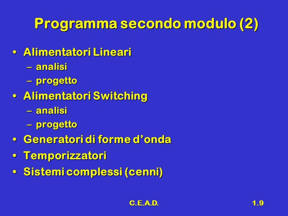 C.E.A.D.1.9 Programma secondo modulo (2) Alimentatori LineariAlimentatori Lineari –analisi –progetto Alimentatori SwitchingAlimentatori Switching –ana