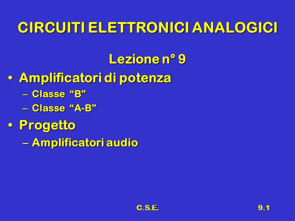 C.S.E.9.1 CIRCUITI ELETTRONICI ANALOGICI Lezione n° 9 Amplificatori di potenzaAmplificatori di potenza –Classe B –Classe A-B ProgettoProgetto –Amplifi