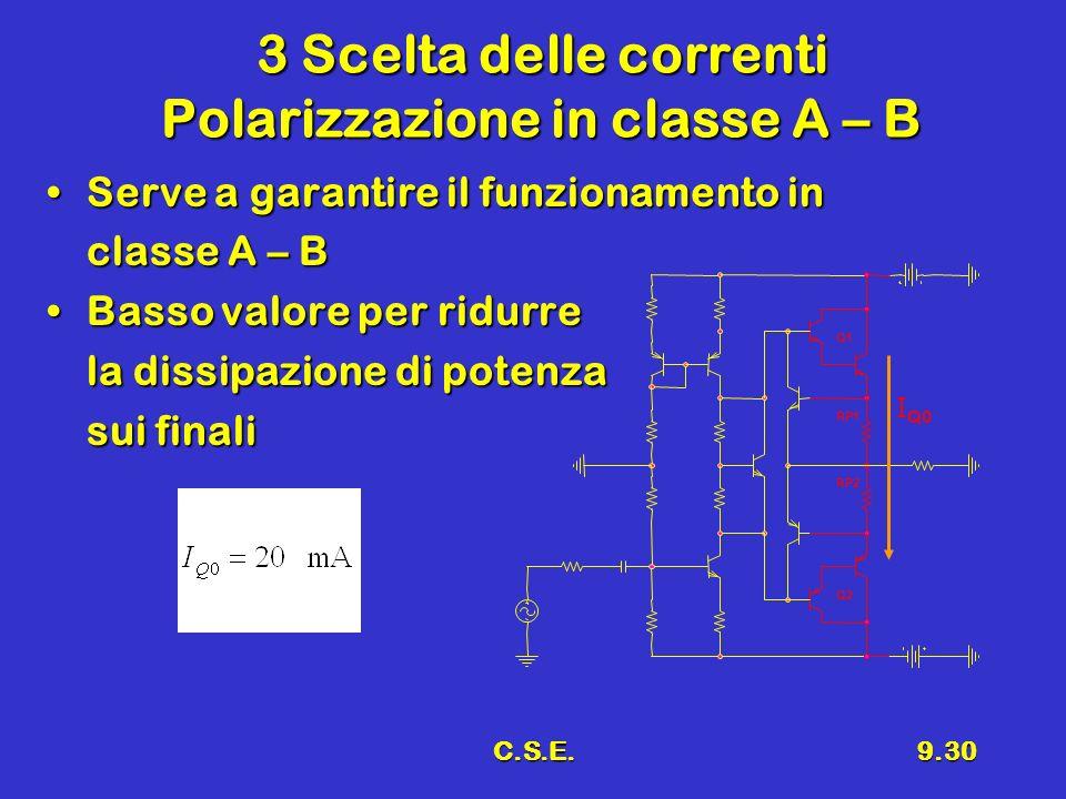 C.S.E.9.30 3 Scelta delle correnti Polarizzazione in classe A – B Serve a garantire il funzionamento inServe a garantire il funzionamento in classe A