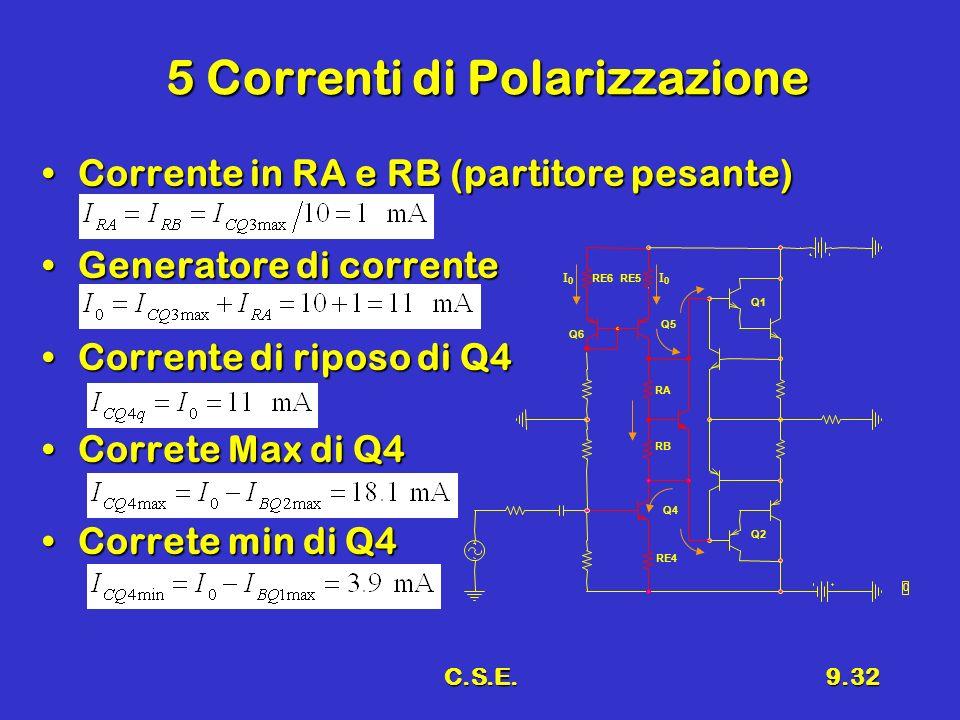 C.S.E.9.32 5 Correnti di Polarizzazione Corrente in RA e RB (partitore pesante)Corrente in RA e RB (partitore pesante) Generatore di correnteGenerator