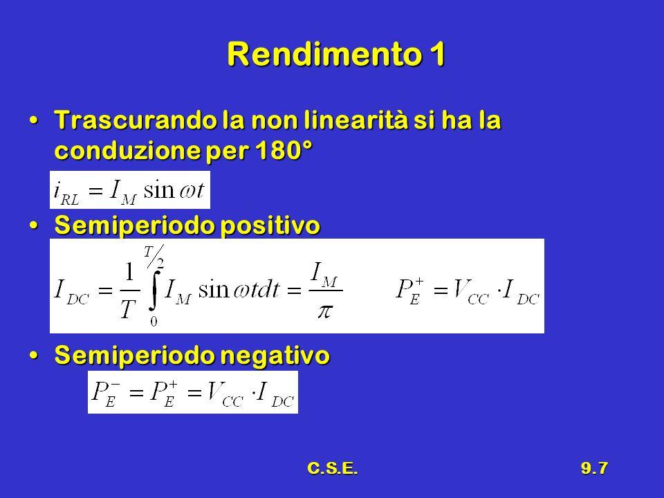 C.S.E.9.7 Rendimento 1 Trascurando la non linearità si ha la conduzione per 180°Trascurando la non linearità si ha la conduzione per 180° Semiperiodo