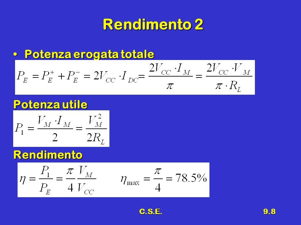 C.S.E.9.8 Rendimento 2 Potenza erogata totalePotenza erogata totale Potenza utile Rendimento