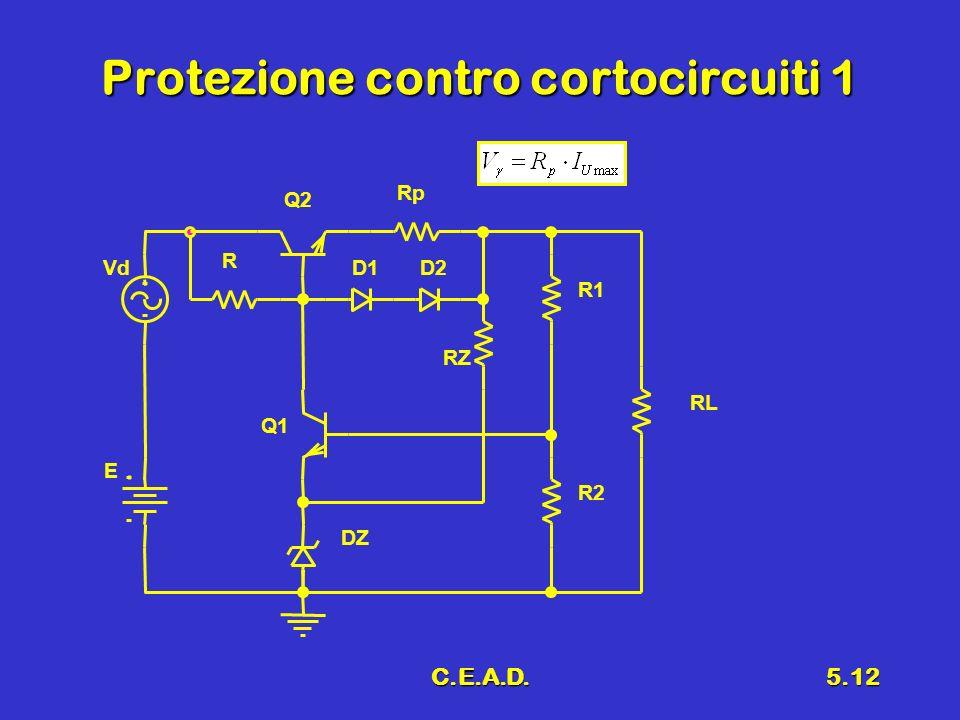 C.E.A.D.5.12 Protezione contro cortocircuiti 1 E Vd R Q1 R2 RL R1 Q2 Rp D1 RZ DZ D2