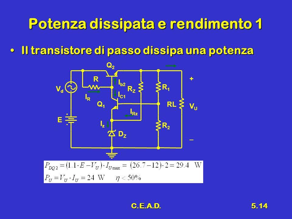 C.E.A.D.5.14 Potenza dissipata e rendimento 1 Il transistore di passo dissipa una potenzaIl transistore di passo dissipa una potenza