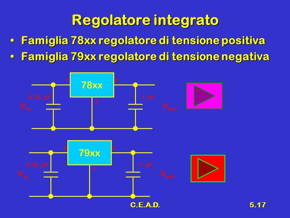C.E.A.D.5.17 Regolatore integrato Famiglia 78xx regolatore di tensione positivaFamiglia 78xx regolatore di tensione positiva Famiglia 79xx regolatore