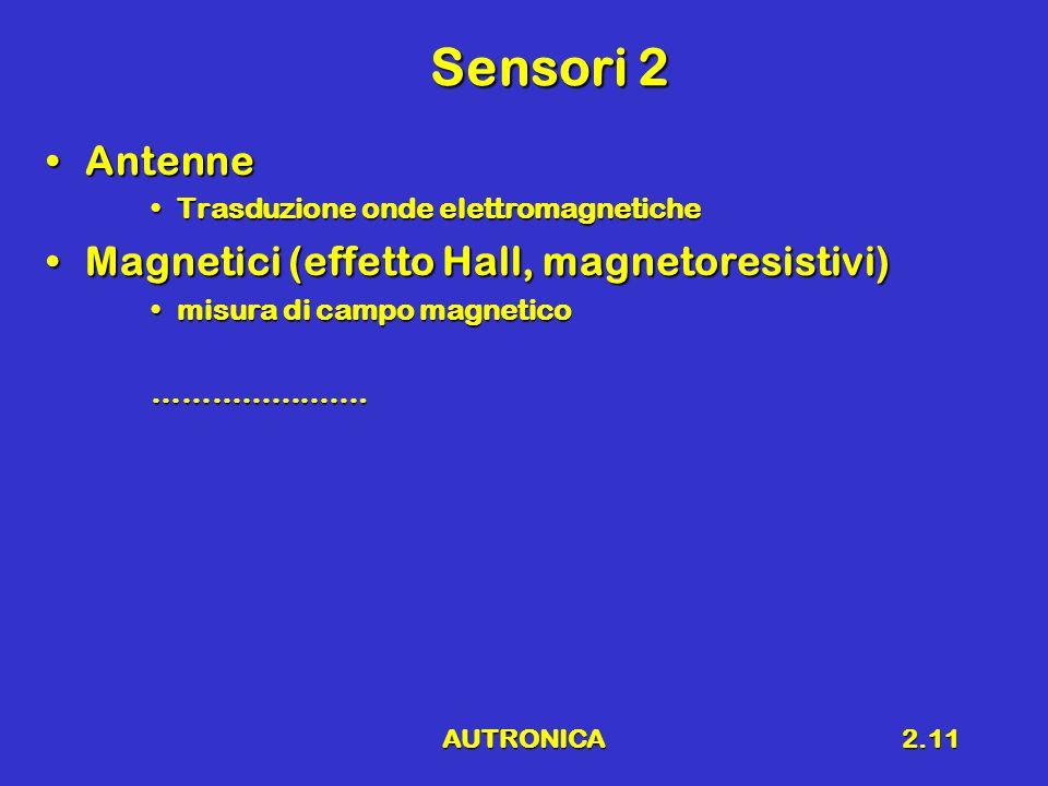 AUTRONICA2.11 Sensori 2 AntenneAntenne Trasduzione onde elettromagneticheTrasduzione onde elettromagnetiche Magnetici (effetto Hall, magnetoresistivi)