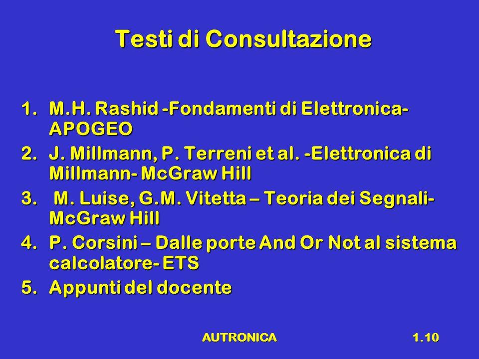 AUTRONICA1.10 Testi di Consultazione 1.M.H. Rashid -Fondamenti di Elettronica- APOGEO 2.J. Millmann, P. Terreni et al. -Elettronica di Millmann- McGra