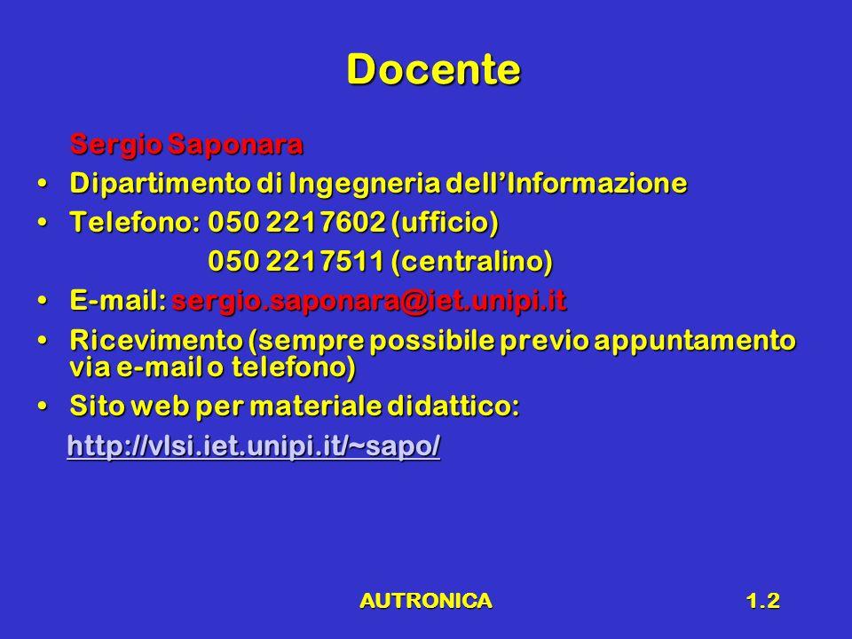 AUTRONICA1.2 Docente Sergio Saponara Dipartimento di Ingegneria dellInformazioneDipartimento di Ingegneria dellInformazione Telefono:050 2217602 (uffi