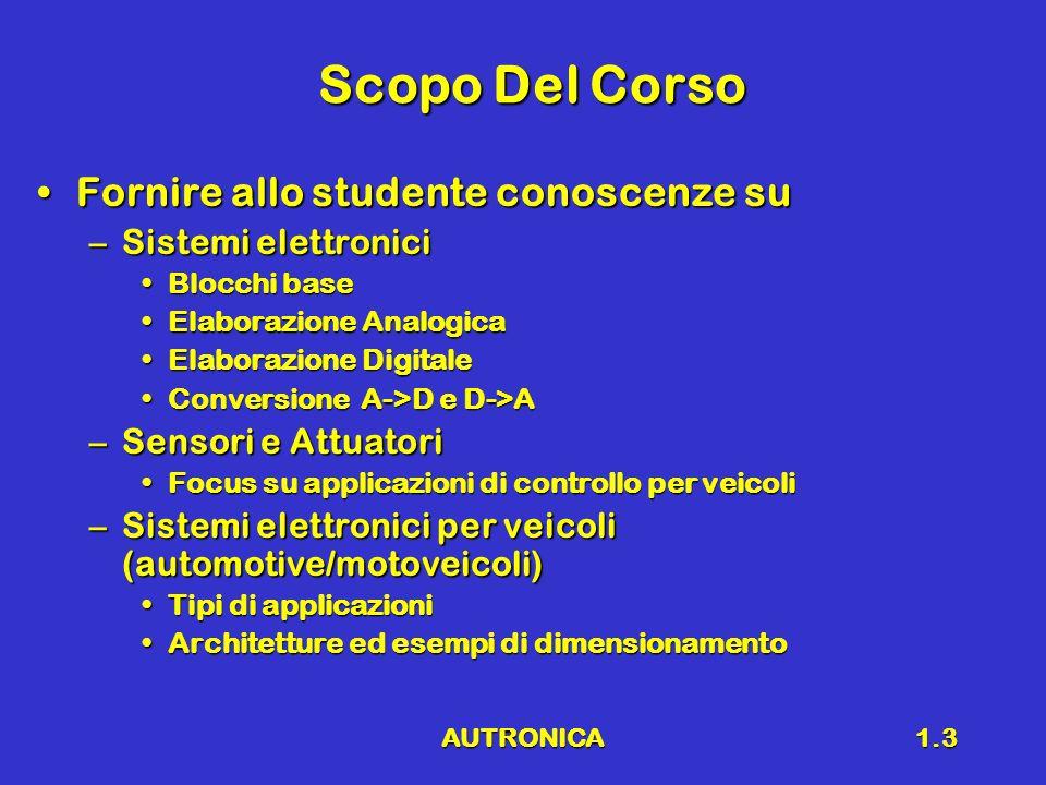 AUTRONICA1.4 Prerequisiti Conoscenze di base di matematica e fisicaConoscenze di base di matematica e fisica Conoscenze di base di elettrotecnicaConoscenze di base di elettrotecnica Conoscenze di base di controlli automaticiConoscenze di base di controlli automatici