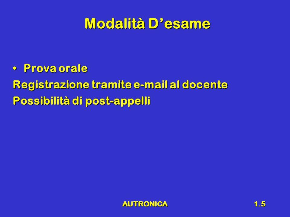 AUTRONICA1.5 Modalità Desame Prova oraleProva orale Registrazione tramite e-mail al docente Possibilità di post-appelli