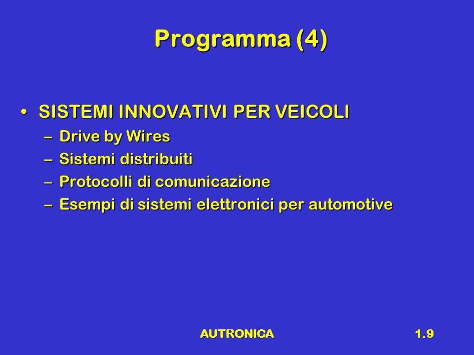 AUTRONICA1.9 Programma (4) SISTEMI INNOVATIVI PER VEICOLISISTEMI INNOVATIVI PER VEICOLI –Drive by Wires –Sistemi distribuiti –Protocolli di comunicazi