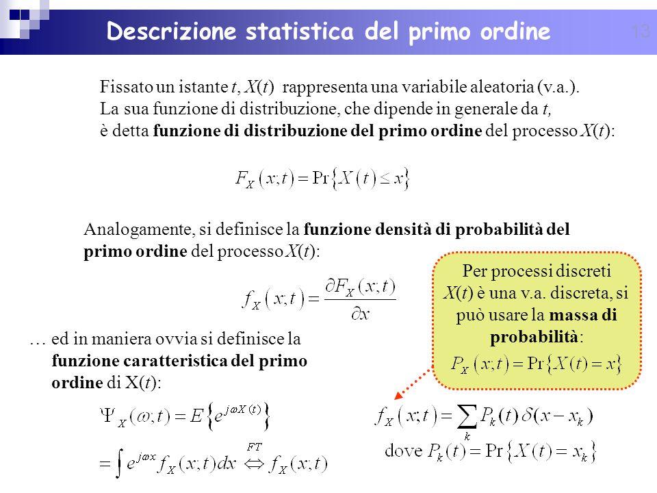 13 Descrizione statistica del primo ordine Fissato un istante t, X(t) rappresenta una variabile aleatoria (v.a.). La sua funzione di distribuzione, ch