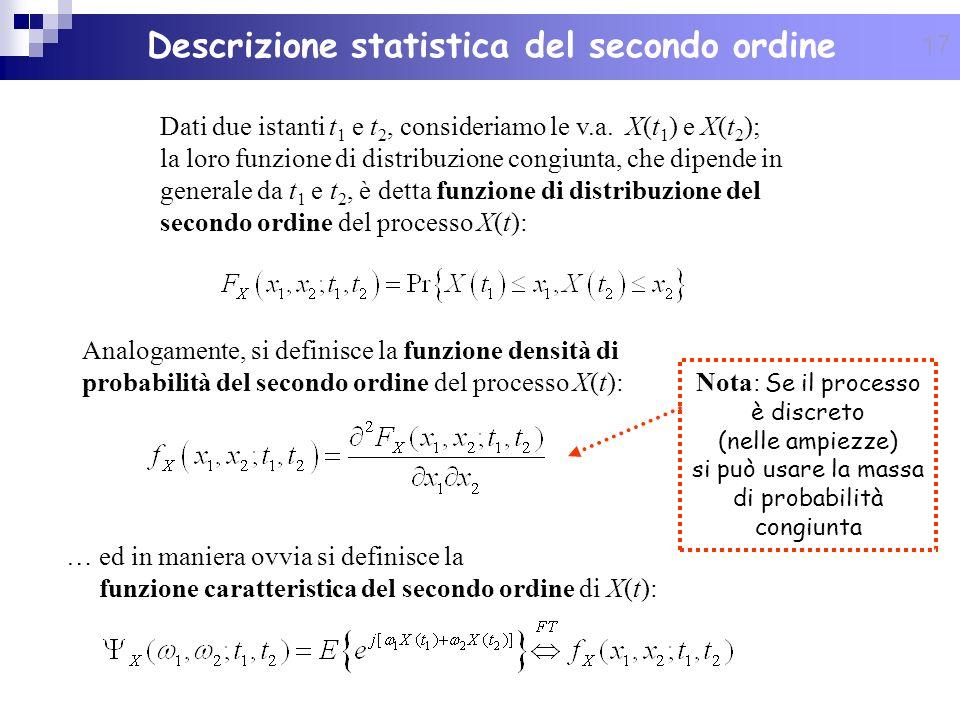 17 Dati due istanti t 1 e t 2, consideriamo le v.a. X(t 1 ) e X(t 2 ); la loro funzione di distribuzione congiunta, che dipende in generale da t 1 e t