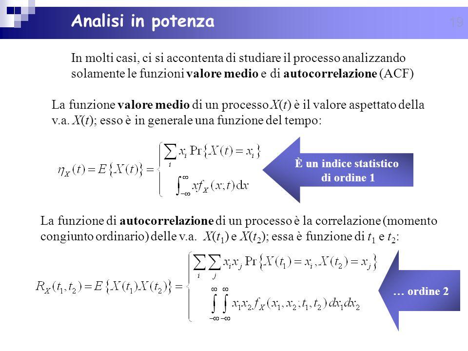 19 Analisi in potenza In molti casi, ci si accontenta di studiare il processo analizzando solamente le funzioni valore medio e di autocorrelazione (AC