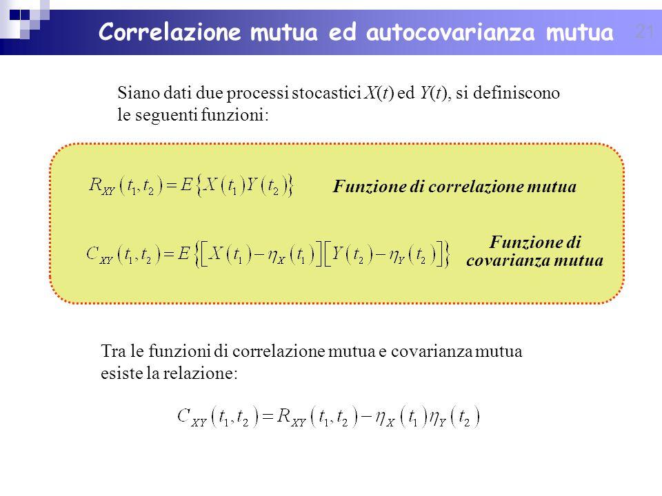 21 Siano dati due processi stocastici X(t) ed Y(t), si definiscono le seguenti funzioni: Tra le funzioni di correlazione mutua e covarianza mutua esis
