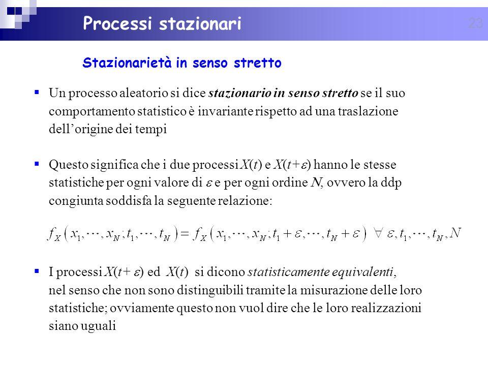 23 Stazionarietà in senso stretto Processi stazionari Un processo aleatorio si dice stazionario in senso stretto se il suo comportamento statistico è
