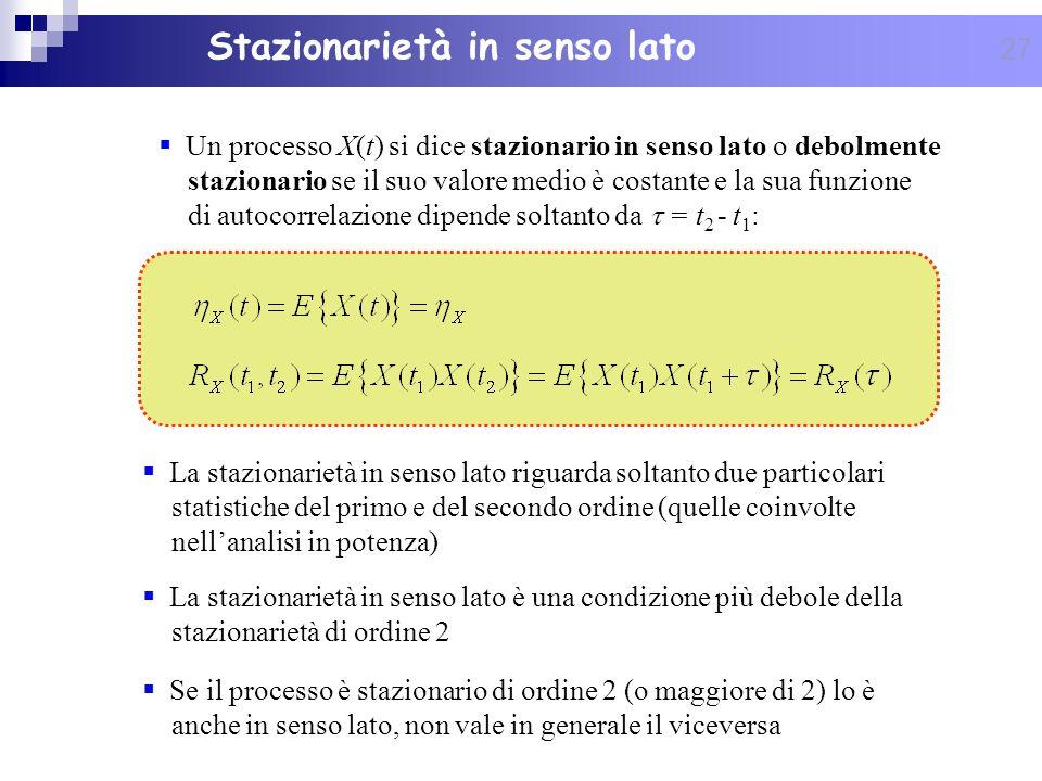 27 Un processo X(t) si dice stazionario in senso lato o debolmente stazionario se il suo valore medio è costante e la sua funzione di autocorrelazione