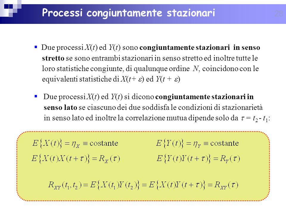 28 Processi congiuntamente stazionari Due processi X(t) ed Y(t) sono congiuntamente stazionari in senso stretto se sono entrambi stazionari in senso s