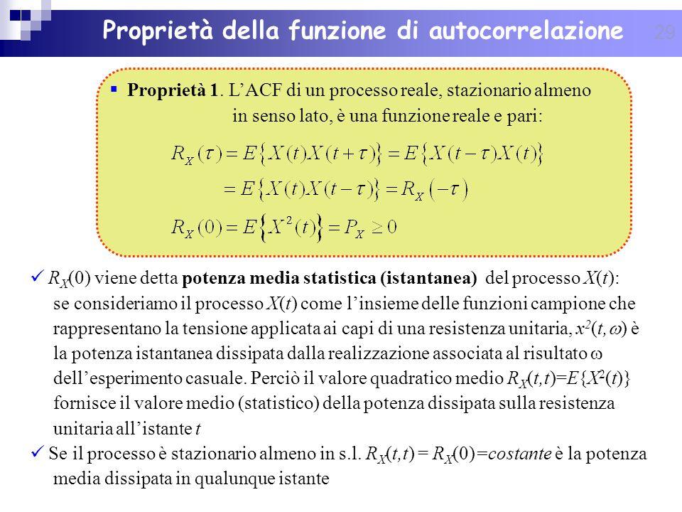 29 Proprietà della funzione di autocorrelazione R X (0) viene detta potenza media statistica (istantanea) del processo X(t): se consideriamo il proces