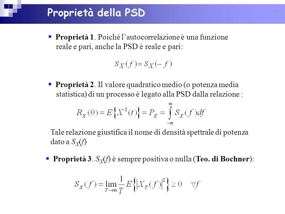 36 Proprietà della PSD Proprietà 1. Poiché lautocorrelazione è una funzione reale e pari, anche la PSD è reale e pari: Tale relazione giustifica il no