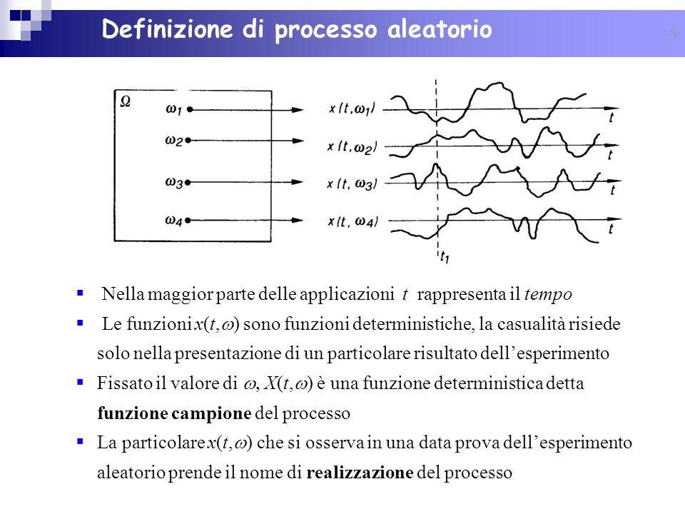 4 Nella maggior parte delle applicazioni t rappresenta il tempo Le funzioni x(t, ) sono funzioni deterministiche, la casualità risiede solo nella pres