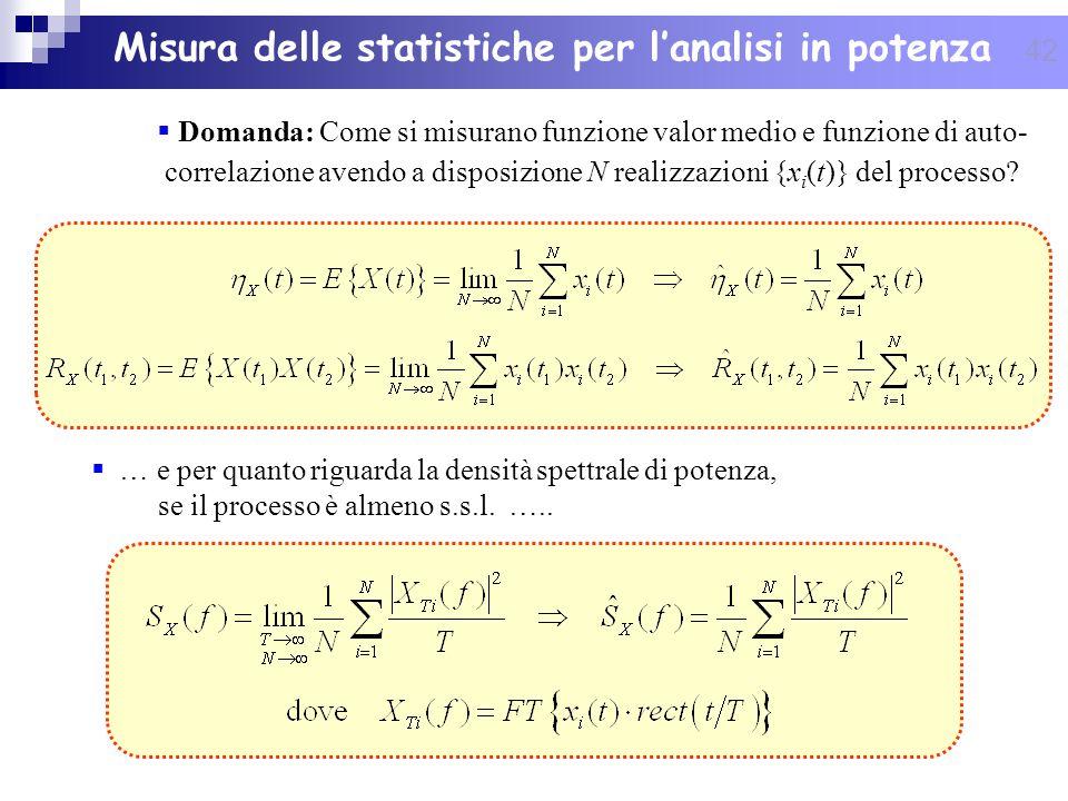 42 Domanda: Come si misurano funzione valor medio e funzione di auto- correlazione avendo a disposizione N realizzazioni {x i (t)} del processo? Misur