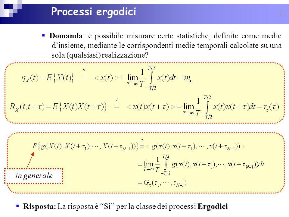 43 Ergodici Risposta: La risposta è Si per la classe dei processi Ergodici Processi ergodici in generale Domanda: è possibile misurare certe statistic
