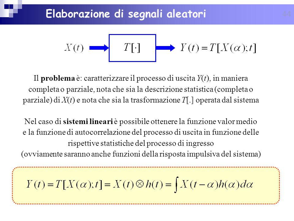 44 Elaborazione di segnali aleatori Il problema è: caratterizzare il processo di uscita Y(t), in maniera completa o parziale, nota che sia la descrizi