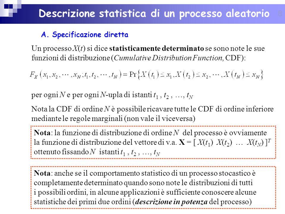 29 Proprietà della funzione di autocorrelazione R X (0) viene detta potenza media statistica (istantanea) del processo X(t): se consideriamo il processo X(t) come linsieme delle funzioni campione che rappresentano la tensione applicata ai capi di una resistenza unitaria, x 2 (t, ) è la potenza istantanea dissipata dalla realizzazione associata al risultato dellesperimento casuale.
