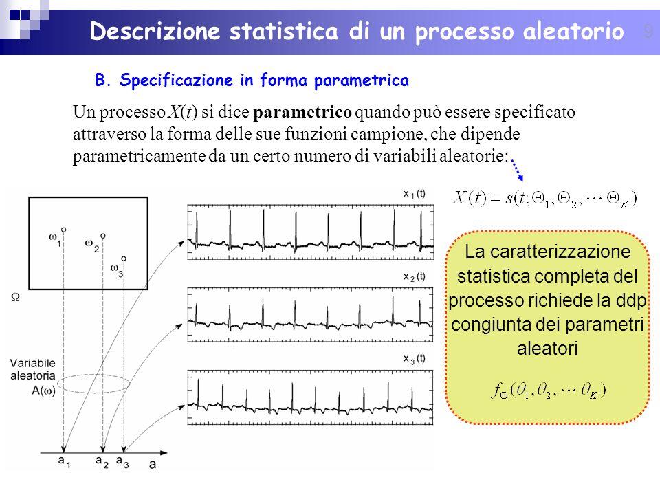 9 Descrizione statistica di un processo aleatorio B. Specificazione in forma parametrica Un processo X(t) si dice parametrico quando può essere specif