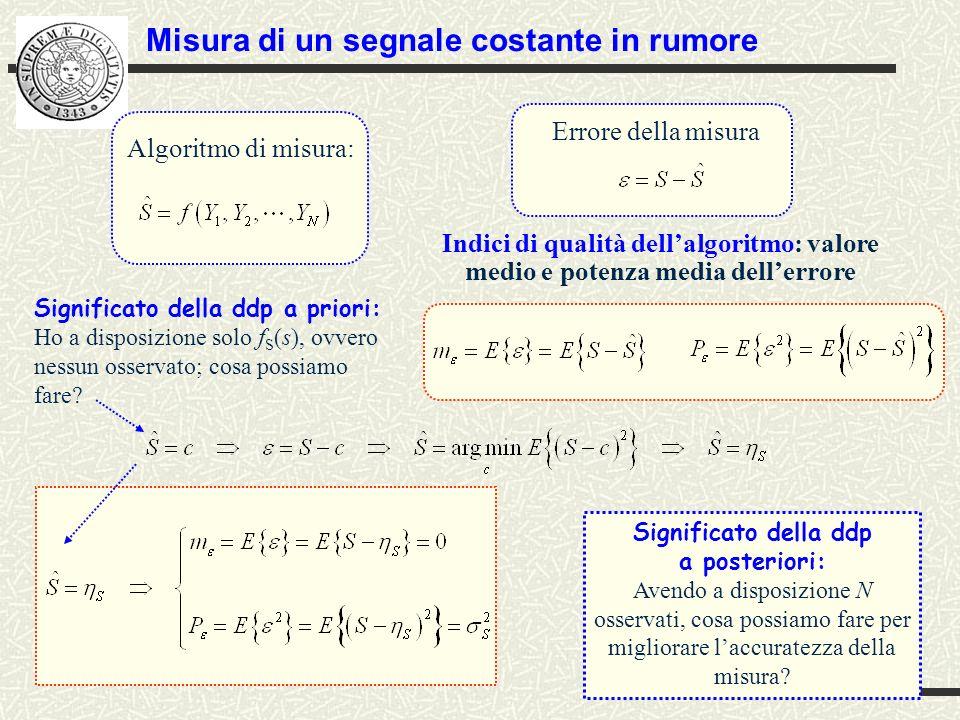 stimesegncost_N.m File.m: stimesegncost_N.m % Calcolo della media e della varianza dellerrore dei due algoritmi al variare del numero di campioni N clc clear Nmax=50; % numero massimo di campioni ne=1000; % numero di esperimenti (prove) Monte Carlo etas=10 % valor medio del segnale costante sig2s=4 % varianza del segnale costante sig2w=4 % varianza del rumore g=sig2s/sig2w; % gamma s=randn(1,ne)*sqrt(sig2s)+etas; % genera ne valori di segnale costante con d.d.p.