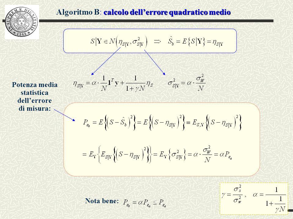 Misura della matrice di covarianza Misura_mat_cov = 8.0342 3.9898 4.1356 4.1333 3.9898 8.0060 3.9277 4.0460 4.1356 3.9277 8.1985 4.1425 4.1333 4.0460 4.1425 8.0706 Valore effettivo: 8 4 4 4 4 8 4 4 4 4 8 4 4 4 4 8 Misura della matrice di covarianza del vettore degli osservati, utilizzando K realizzazioni del vettore y Coeff.