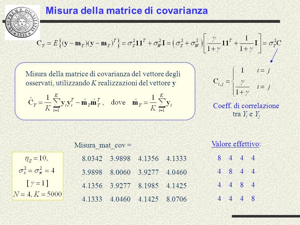 segncost_matcov.m File.m: segncost_matcov.m % Misura della matrice di covarianza degli osservati di segnale costante in rumore clc clear N=4; % numero di campioni K=5000; % numero di esperimenti (prove) Monte Carlo etas=10 % valor medio del segnale costante sig2s=4 % varianza del segnale costante sig2w=4 % varianza del rumore s=randn(1,K)*sqrt(sig2s)+etas; % genera ne valori di segnale costante con ddp Gaussiana w=randn(N,K)*sqrt(sig2w); % genera ne vettori di rumore con ddp Gaussiana, % organizzati in una matrice y=repmat(s,N,1)+w; % calcola ne vettori osservati, organizzati in una matrice valvettmedio=mean(y. ); % calcola il vettor valor medio degli osservati y=y-repmat(valvettmedio. ,1,K); % sottrae dagli osservati il vettore valor medio valmatcov=y*y. /ne; % calcola la matrice di covarianza degli osservati, % sfruttando la loro organizzazione in matrice valmatcov % stampa la valutazione della matrice di covarianza % degli osservati
