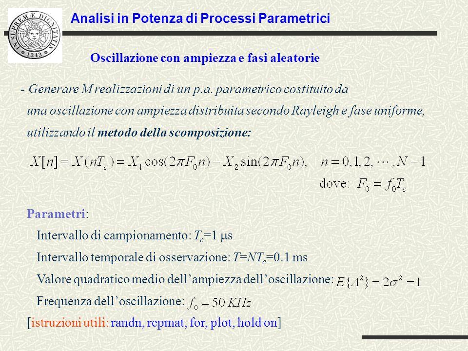 - Generare M realizzazioni di un p.a.