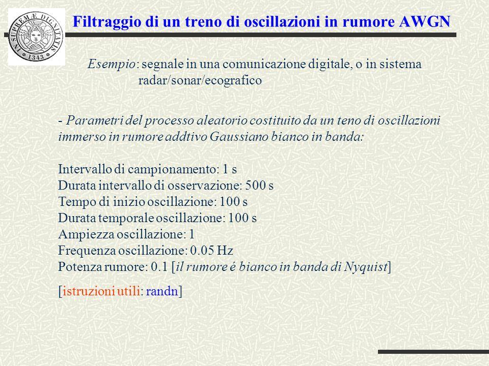 Filtraggio di un treno di oscillazioni in rumore AWGN - Parametri del processo aleatorio costituito da un teno di oscillazioni immerso in rumore addtivo Gaussiano bianco in banda: Intervallo di campionamento: 1 s Durata intervallo di osservazione: 500 s Tempo di inizio oscillazione: 100 s Durata temporale oscillazione: 100 s Ampiezza oscillazione: 1 Frequenza oscillazione: 0.05 Hz Potenza rumore: 0.1 [il rumore é bianco in banda di Nyquist] [istruzioni utili: randn] Esempio: segnale in una comunicazione digitale, o in sistema radar/sonar/ecografico