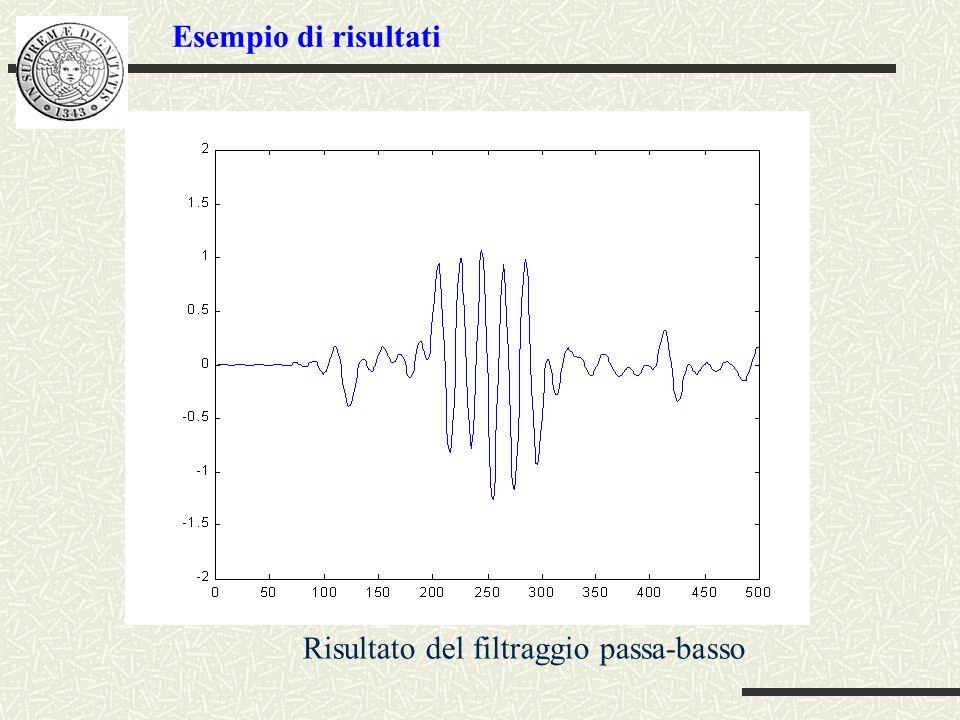 Risultato del filtraggio passa-basso Esempio di risultati
