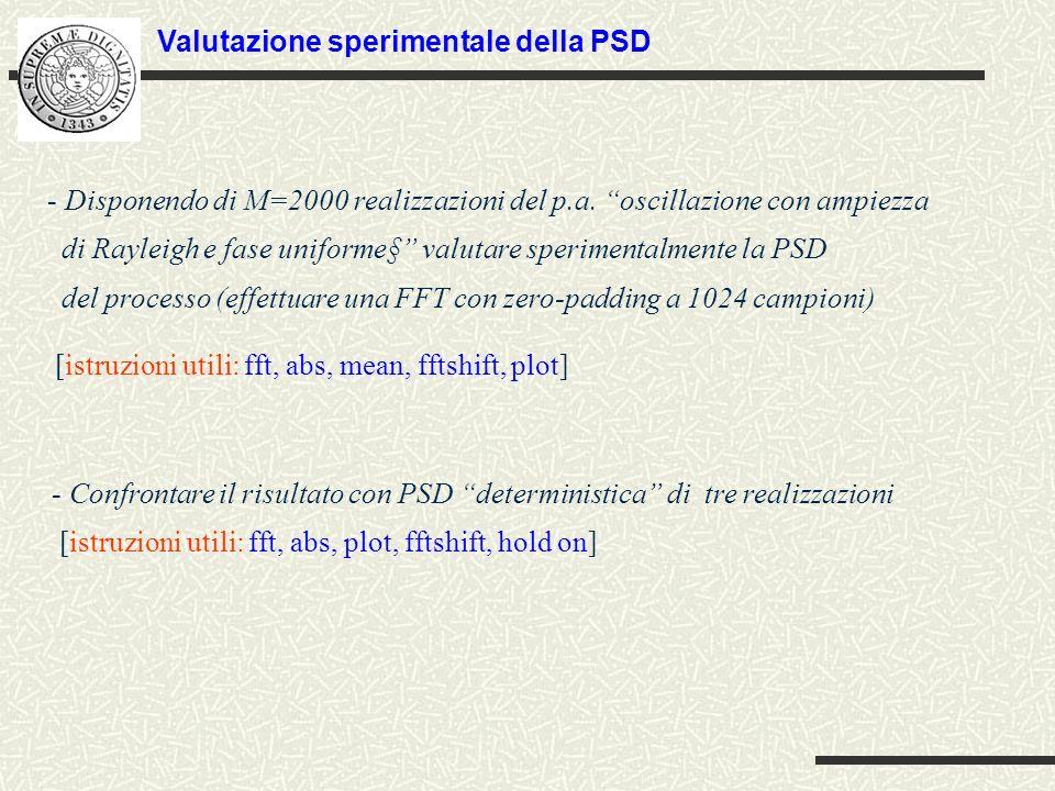- Disponendo di M=2000 realizzazioni del p.a.