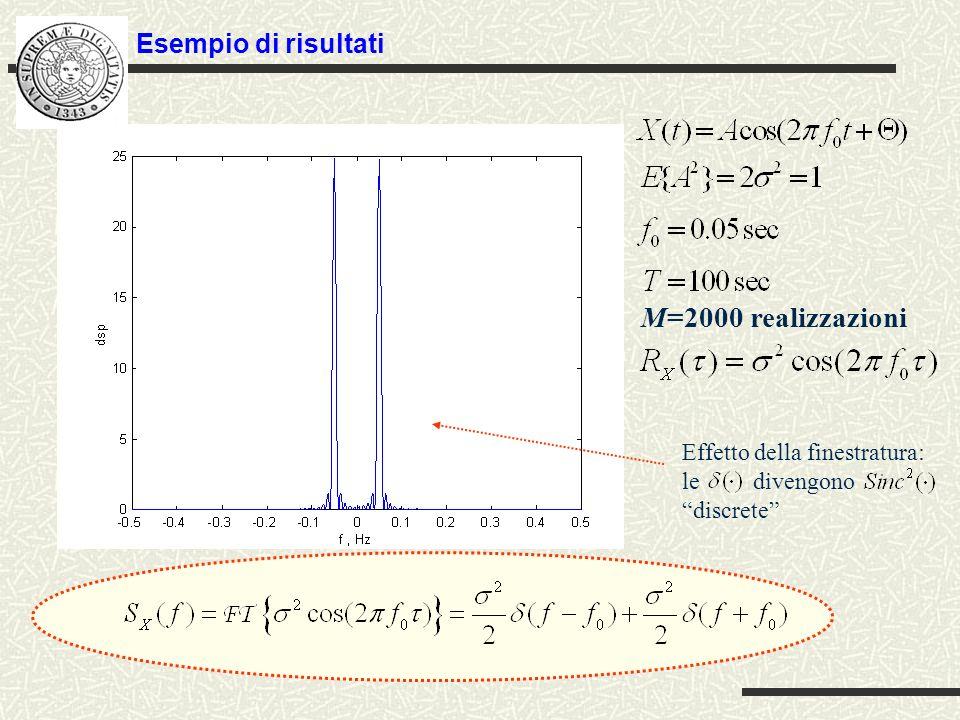 Esempio di risultati PSD misurata da tre realizzazioni (la PSD é phase blind) fluttuazioni di ampiezza da realizzazione a realizzazione PSD del processo aleatorio