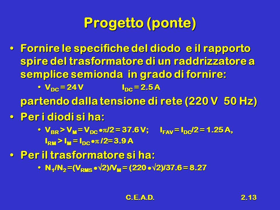 C.E.A.D.2.13 Progetto (ponte) Fornire le specifiche del diodo e il rapporto spire del trasformatore di un raddrizzatore a semplice semionda in grado d