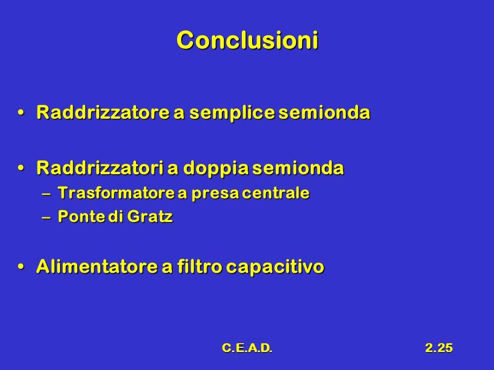 C.E.A.D.2.25 Conclusioni Raddrizzatore a semplice semiondaRaddrizzatore a semplice semionda Raddrizzatori a doppia semiondaRaddrizzatori a doppia semi