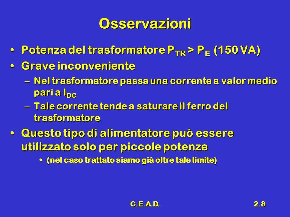C.E.A.D.2.8 Osservazioni Potenza del trasformatore P TR > P E (150 VA)Potenza del trasformatore P TR > P E (150 VA) Grave inconvenienteGrave inconveni